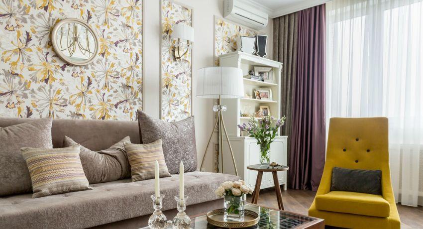 Wallpaper per il soggiorno: foto di interni dal design ...